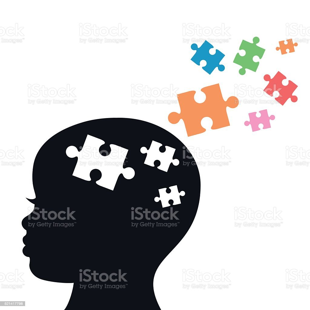 Child's Head With Jigsaw Puzzle Pieces For Autism- VECTOR vector art illustration