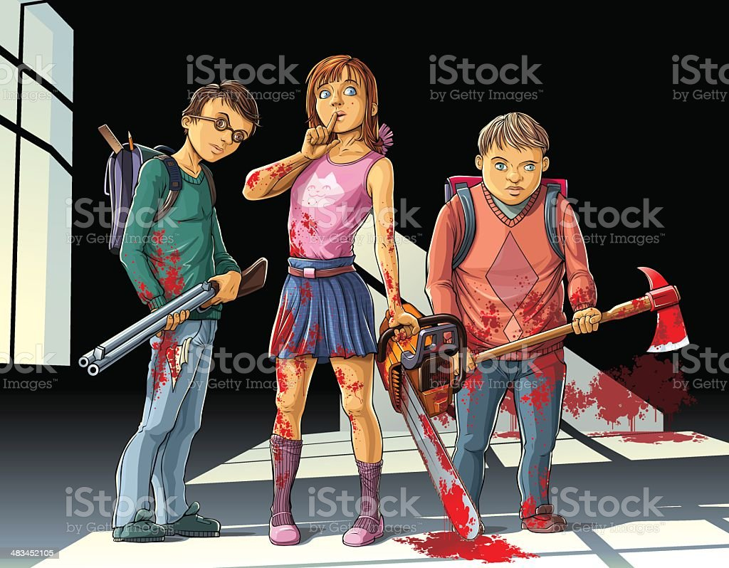 Childs Killers vector art illustration