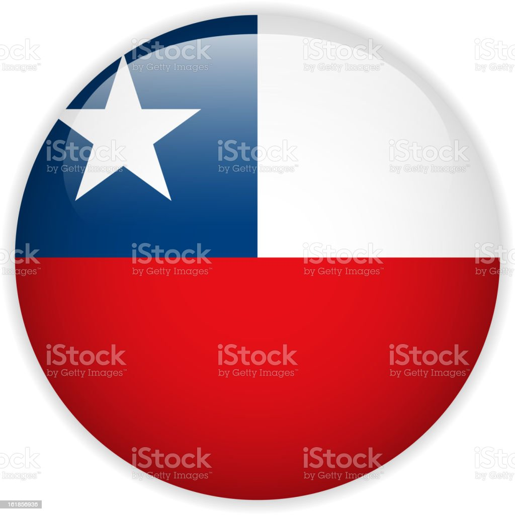 Chile Flag Glossy Button royalty-free stock vector art