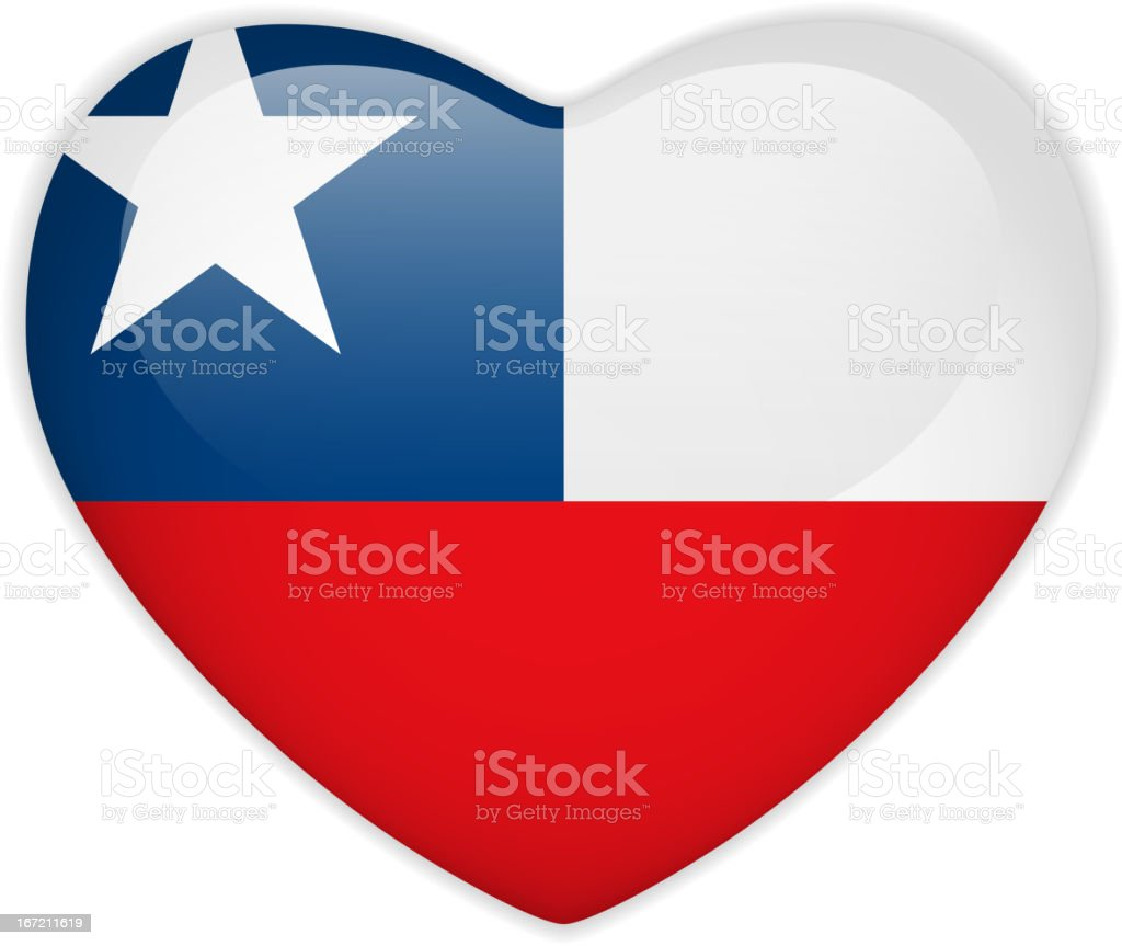 Chile Flag Heart Glossy Button royalty-free stock vector art