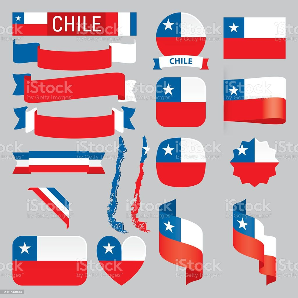 Chile flags vector art illustration