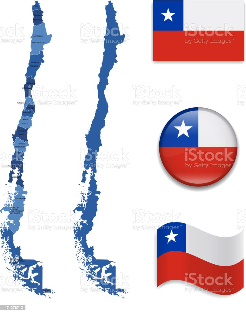 Chile Map and Flag Collection vector art illustration