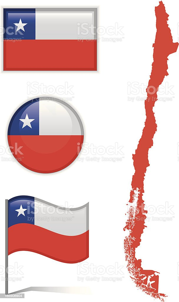 Chile map & flag vector art illustration