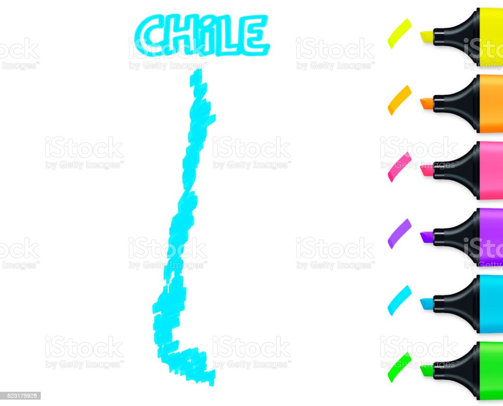 Chile map hand drawn on white background, blue highlighter vector art illustration