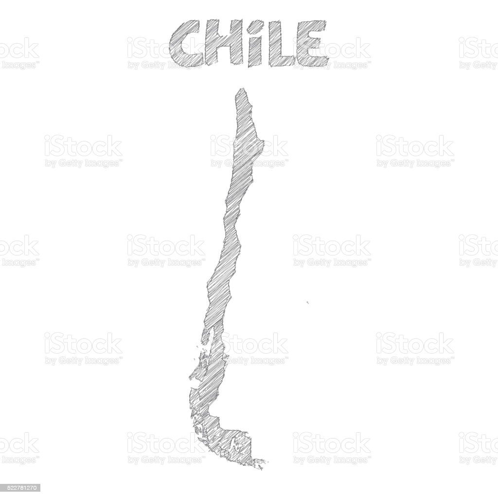 Chile map hand drawn on white background vector art illustration