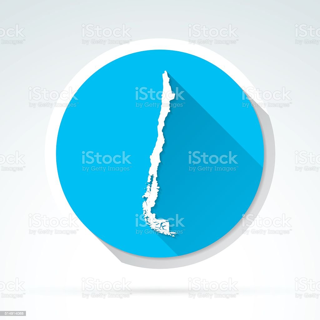 Chile map icon, Flat Design, Long Shadow vector art illustration
