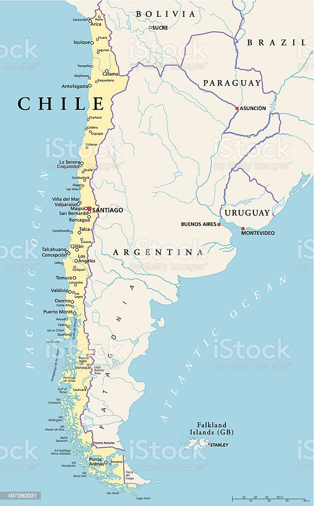 Chile Political Map vector art illustration