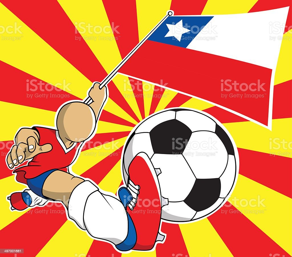 Chile  soccer player vector cartoon royalty-free stock vector art