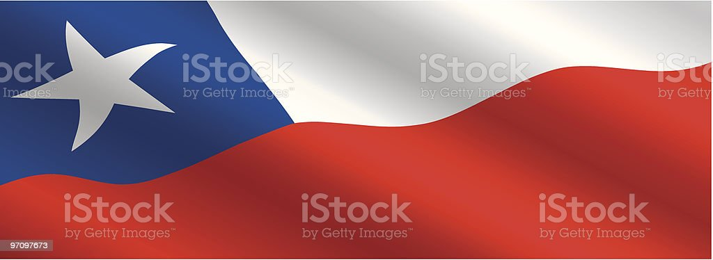 Chilean Flag Flying in the Wind royalty-free stock vector art