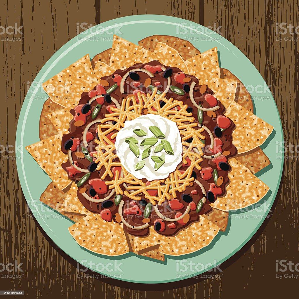 Chili Cheese Nachos vector art illustration