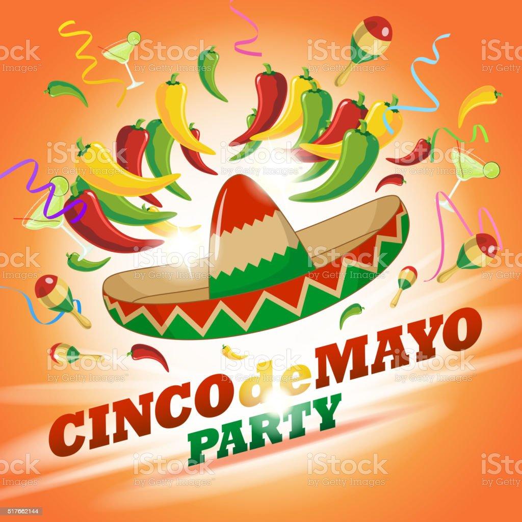 Chili Cinco De Mayo Party vector art illustration