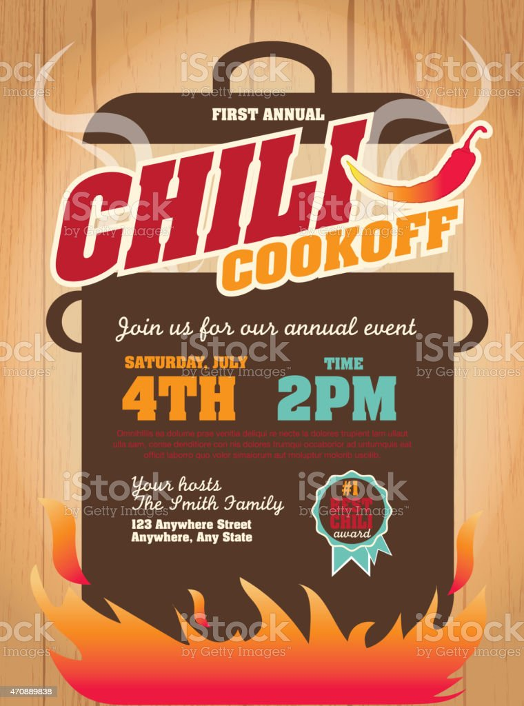 Chili cookoff invitation design template on wooden background vector art illustration