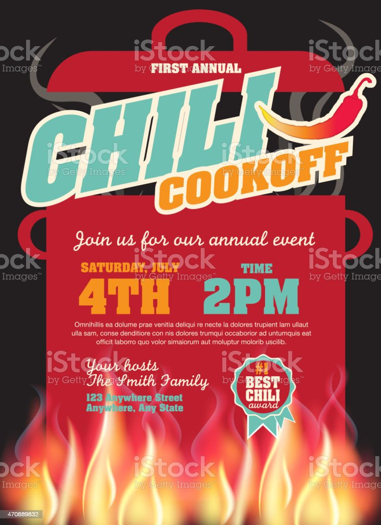 Chili cookoff with red pepper invitation design template vector art illustration