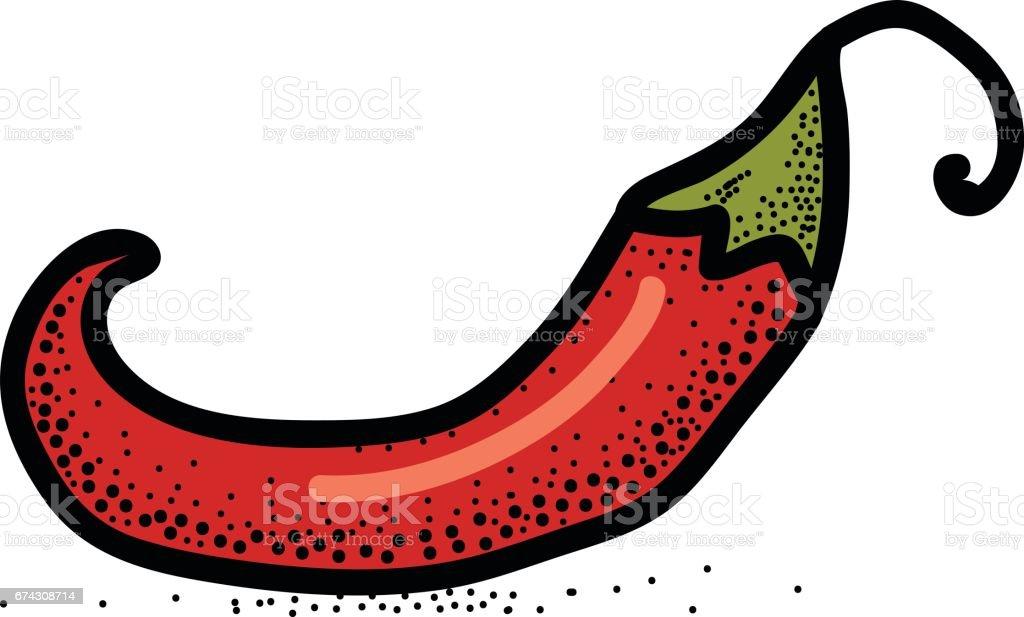 Chili Pepper hand drawn vector illustration. vector art illustration