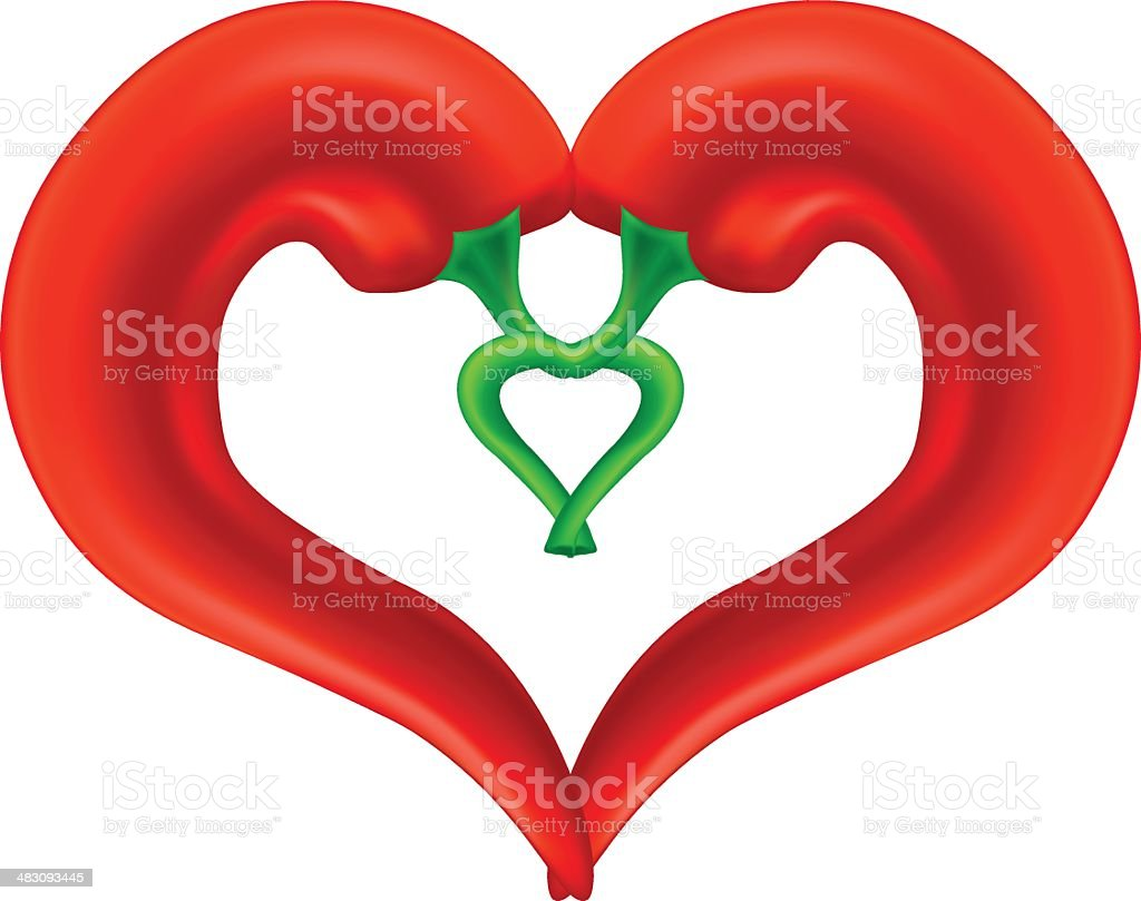 Chili Pepper Heart. Passion and Love Symbol royalty-free stock vector art