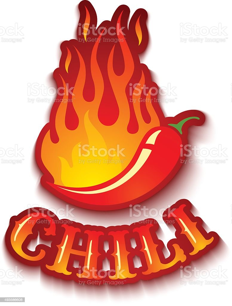 chili pepper in fire vector art illustration