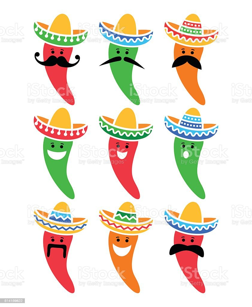 Chili pepper in Mexican Sombrero hat with mustache icons vector art illustration