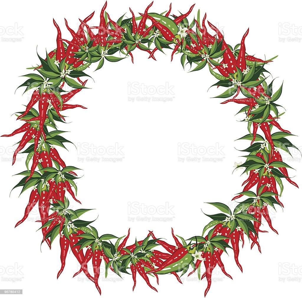 Chili Pepper Ring Frame vector art illustration