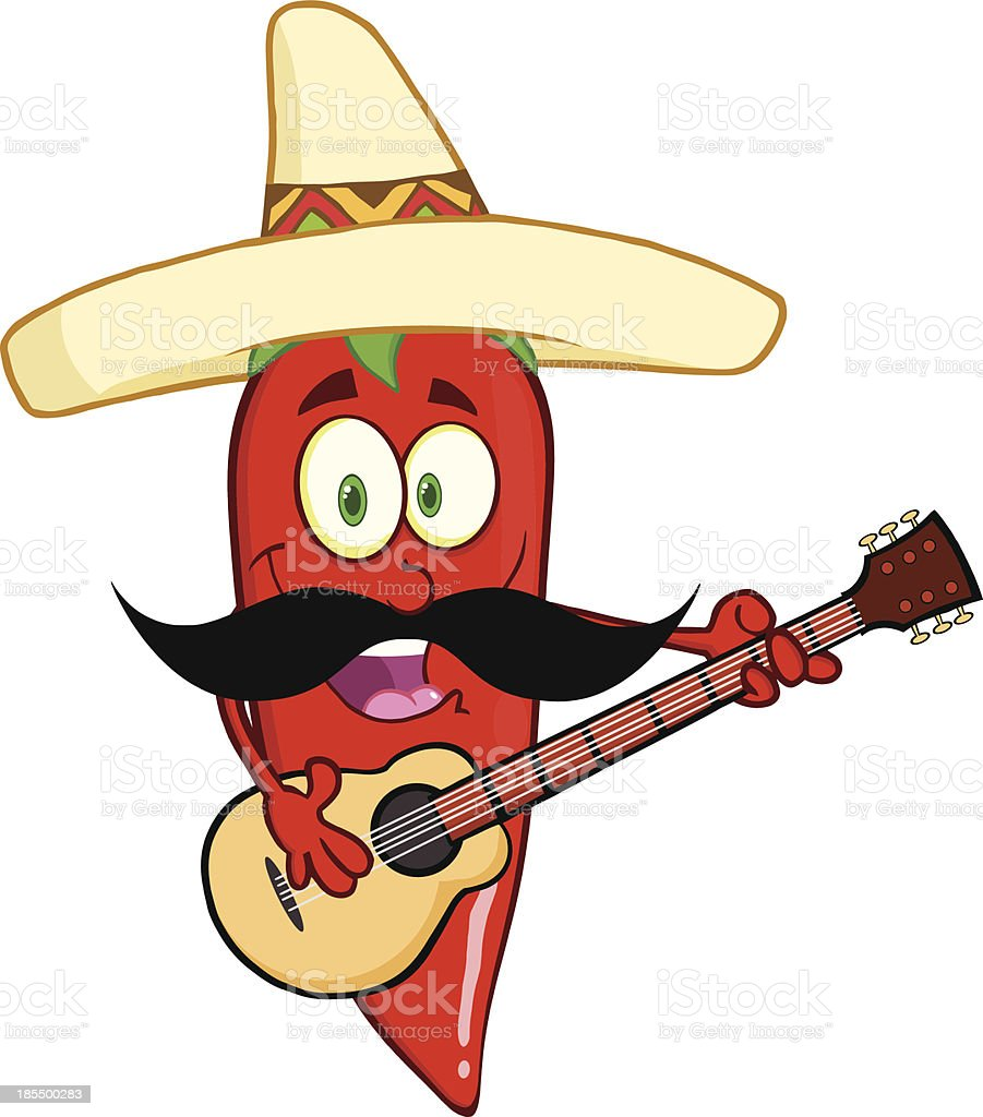 Chili Pepper With Mexican Hat And Mustache Playing A Guitar royalty-free stock vector art