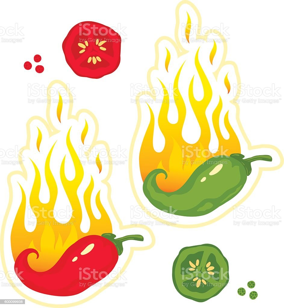 chili peppers in fire vector art illustration