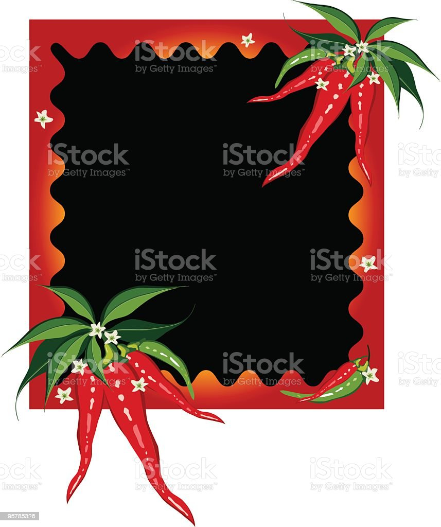 Chili peppers ripply frame border royalty-free stock vector art