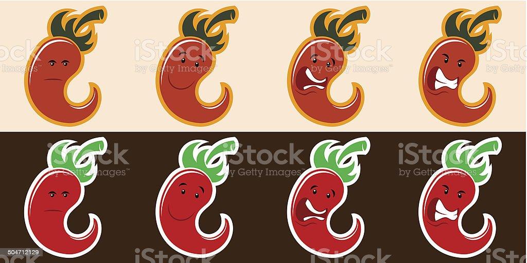 chili peppers set vector art illustration