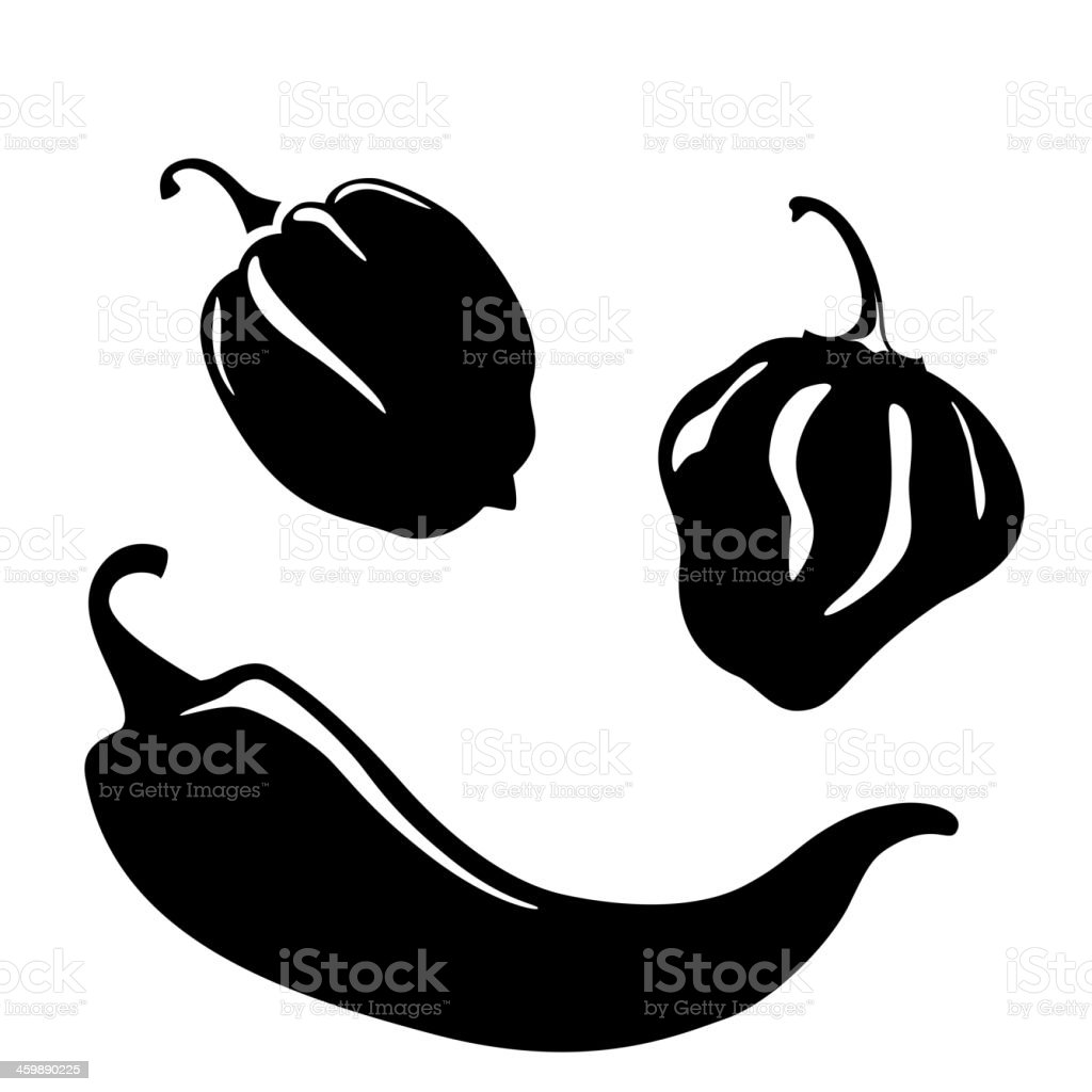 Chili peppers silhouettes vector art illustration