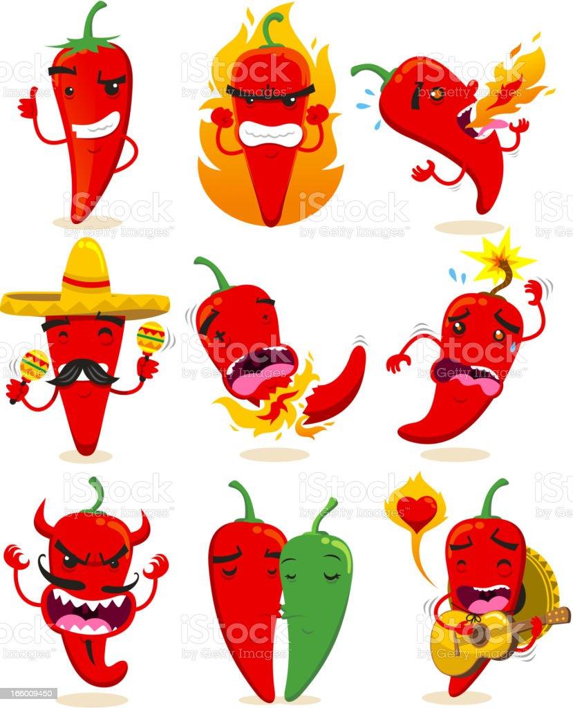 Chili Set Collection vector art illustration
