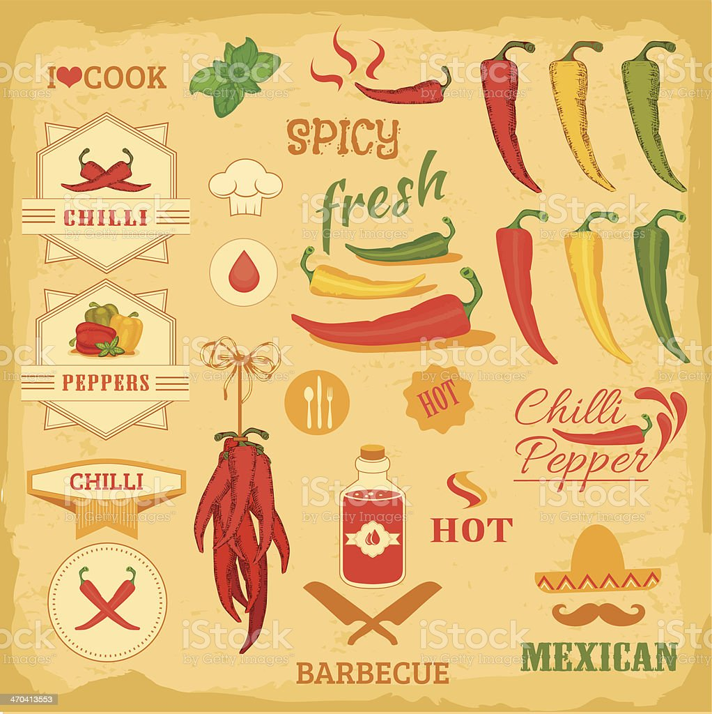 chili spice, chili pepper, isolated vector art illustration