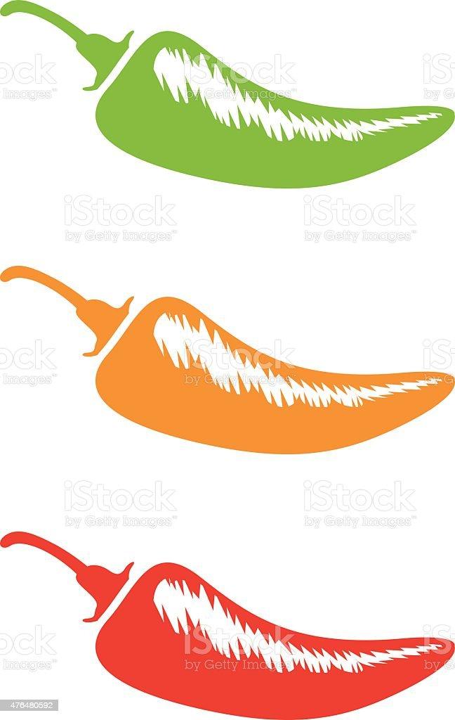 chilli silhouettes vector art illustration