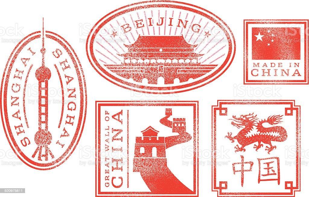 China - Beijing, Shanghai rubber stamps vector art illustration