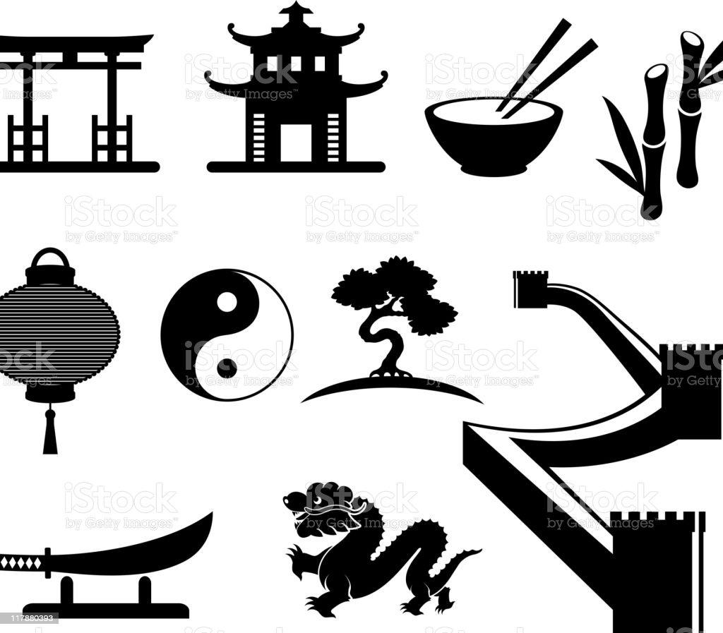 China black and white icon set vector art illustration