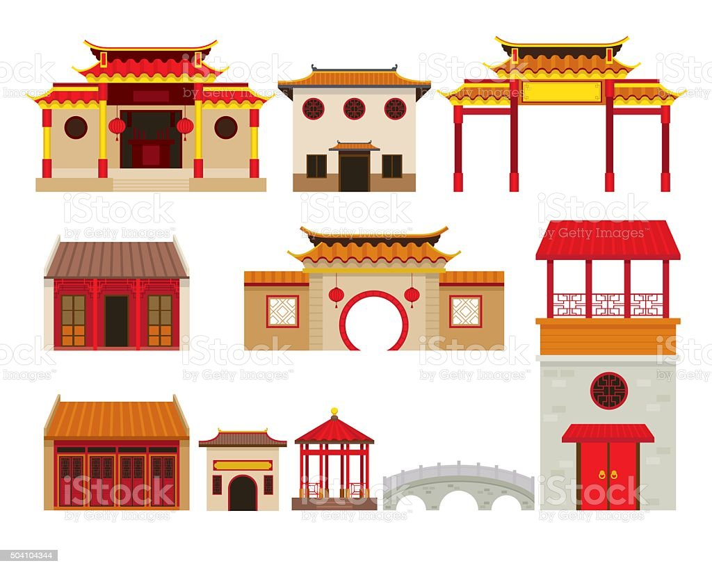 China Building Objects Set vector art illustration