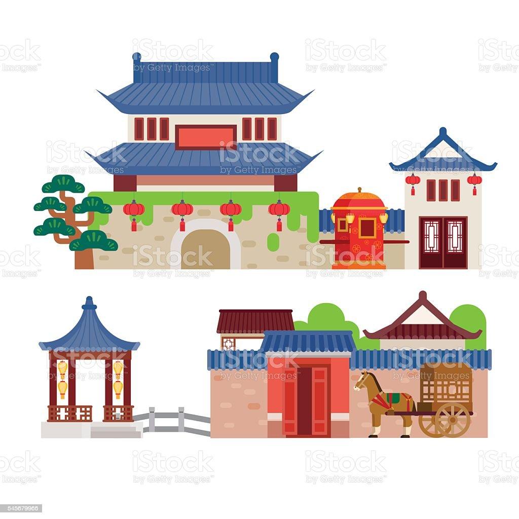 China building vector art illustration