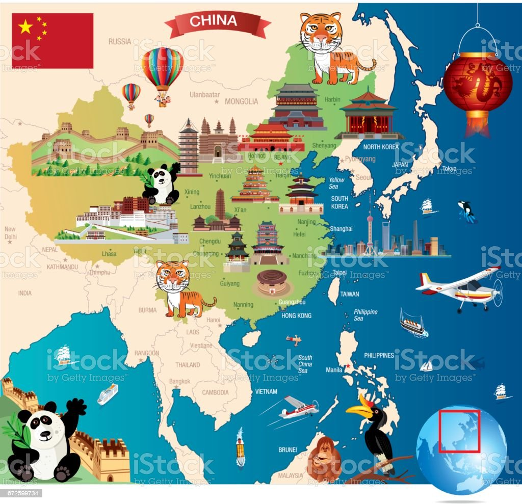 China Cartoon Map vector art illustration