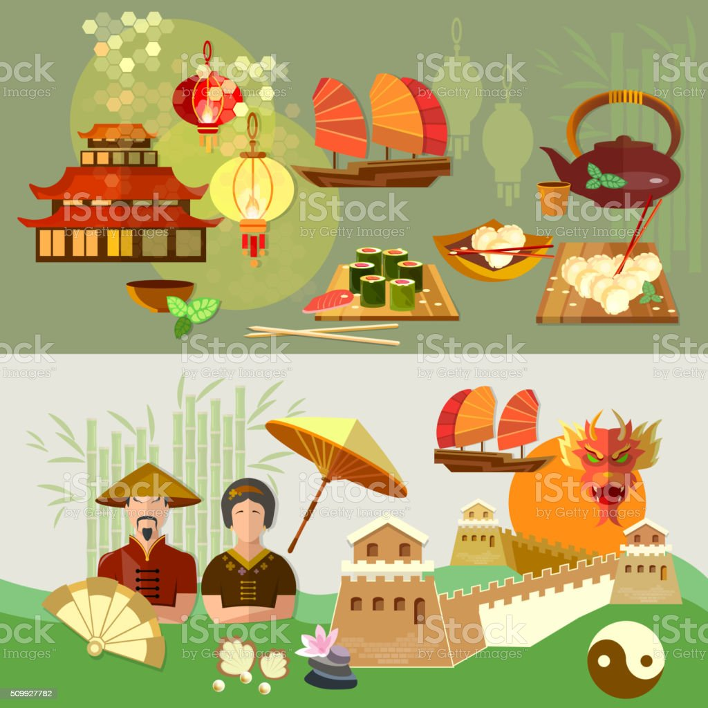 China Chinese culture and traditions vector banners vector art illustration