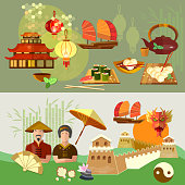China Chinese culture and traditions vector banners