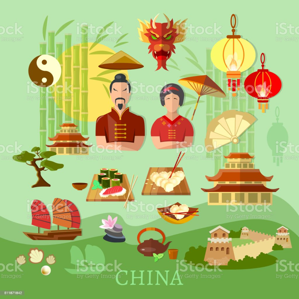 China Chinese traditions and culture vector art illustration