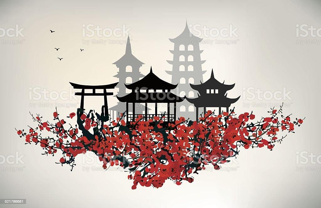China city vector art illustration