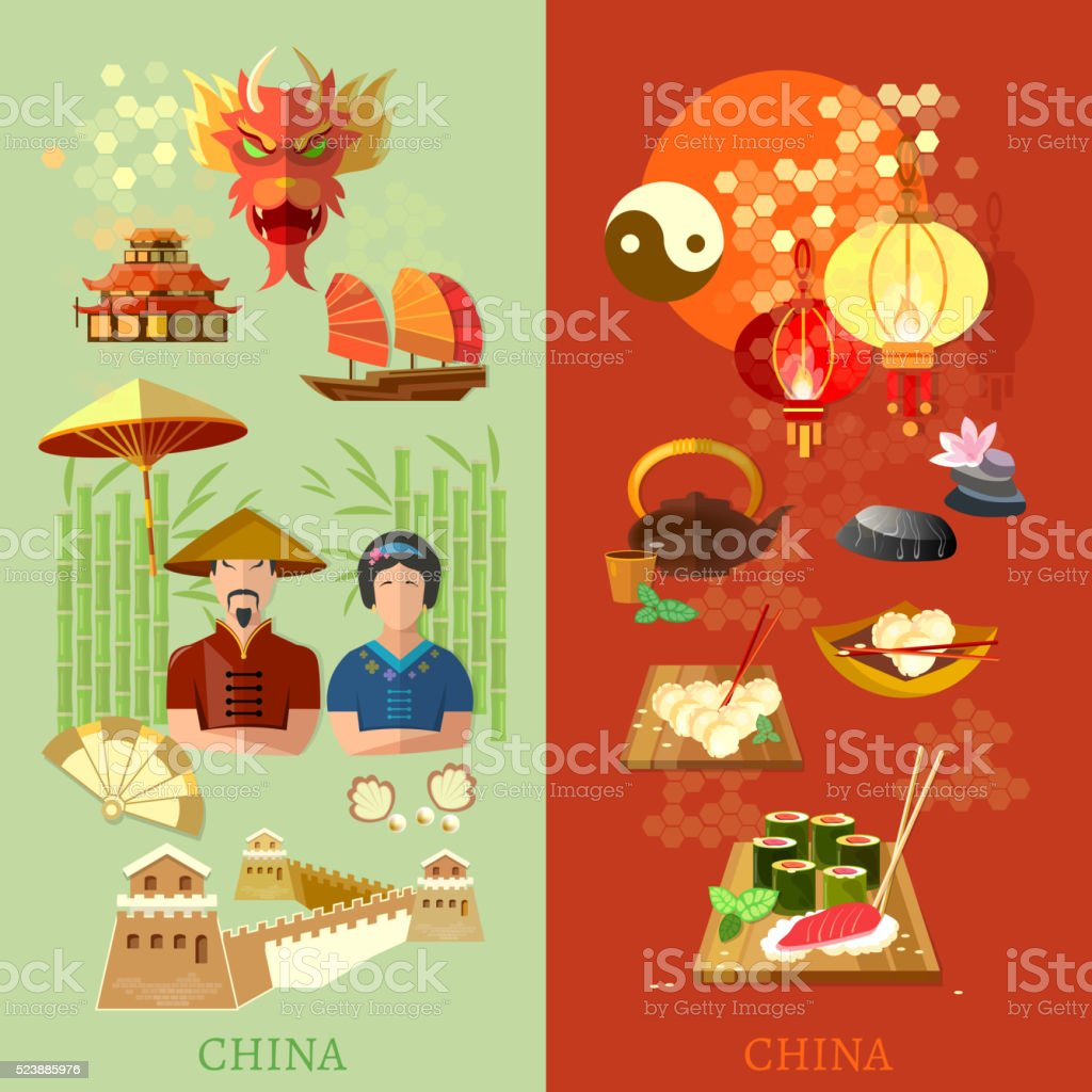 China culture and traditions China attractions vector banners vector art illustration