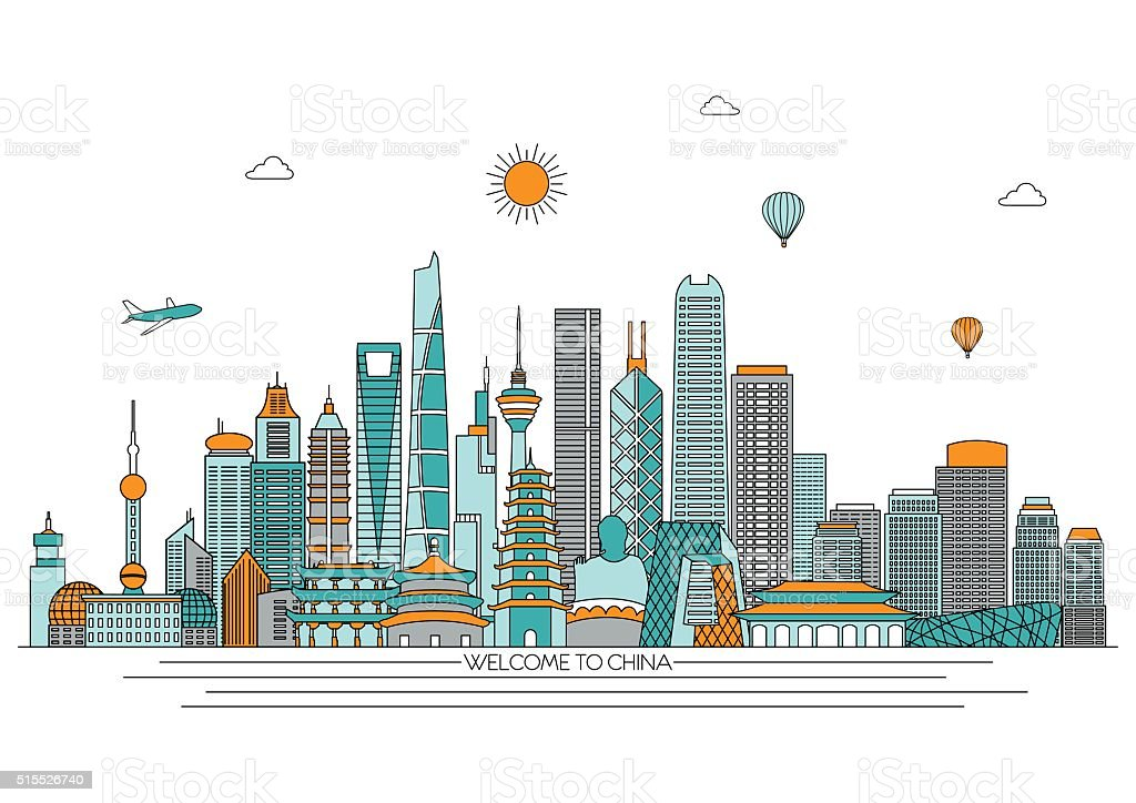 China detailed skyline. Vector background. line illustration. Line art style vector art illustration