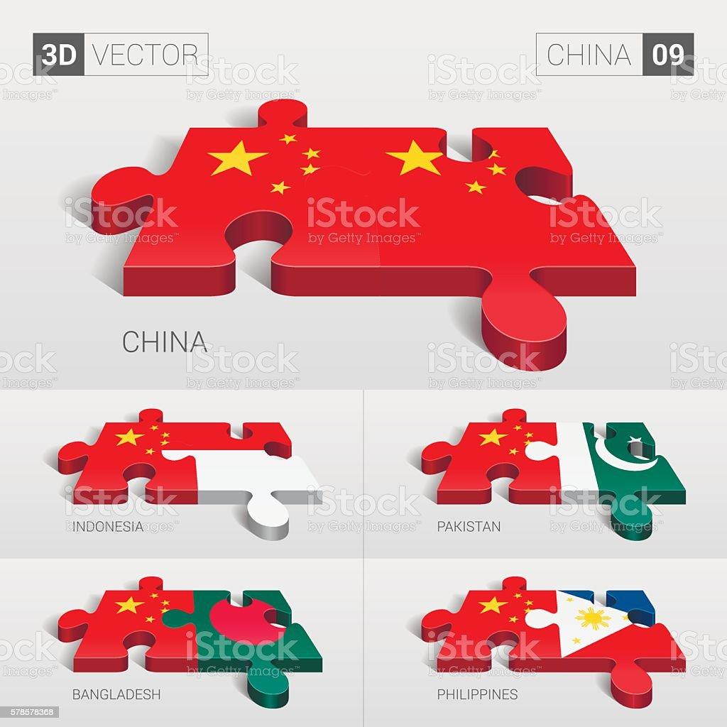 China Flag. 3d vector puzzle. Set 09. vector art illustration