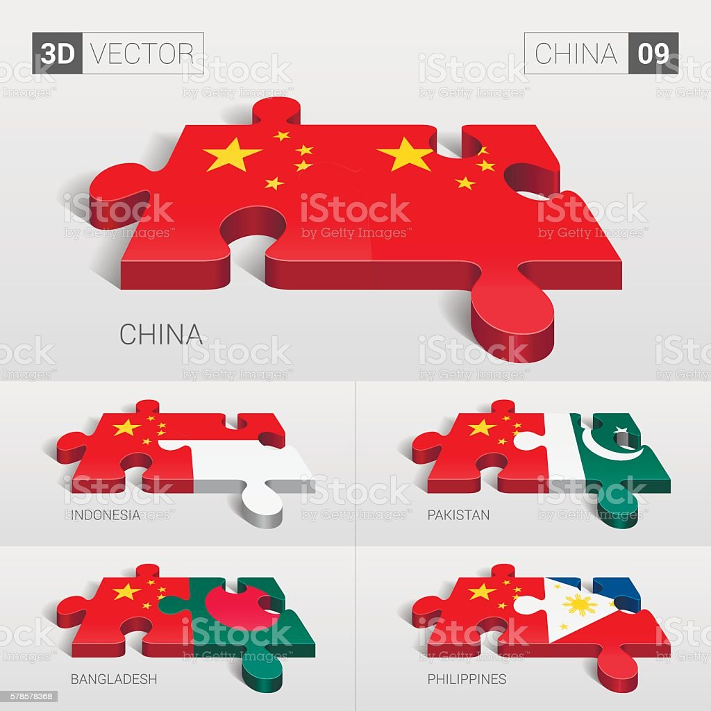 China Flag. 3d vector puzzle. Set 09. vector art illustration