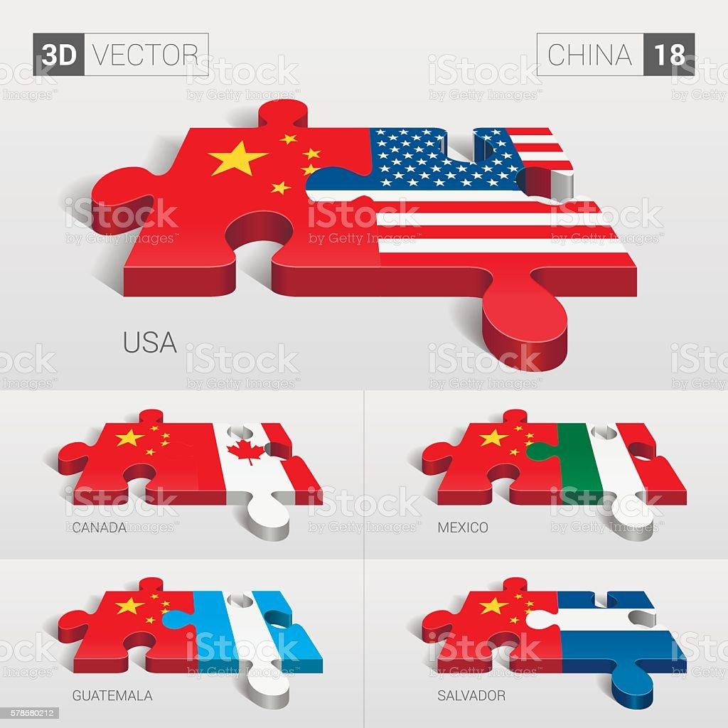 China Flag. 3d vector puzzle. Set 18. vector art illustration