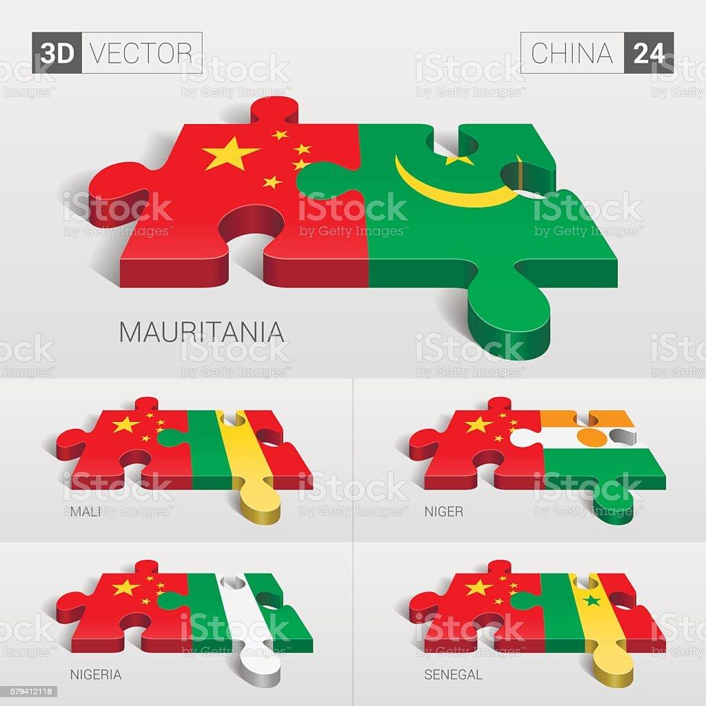 China Flag. 3d vector puzzle. Set 24. vector art illustration