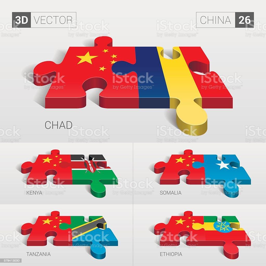 China Flag. 3d vector puzzle. Set 26. vector art illustration