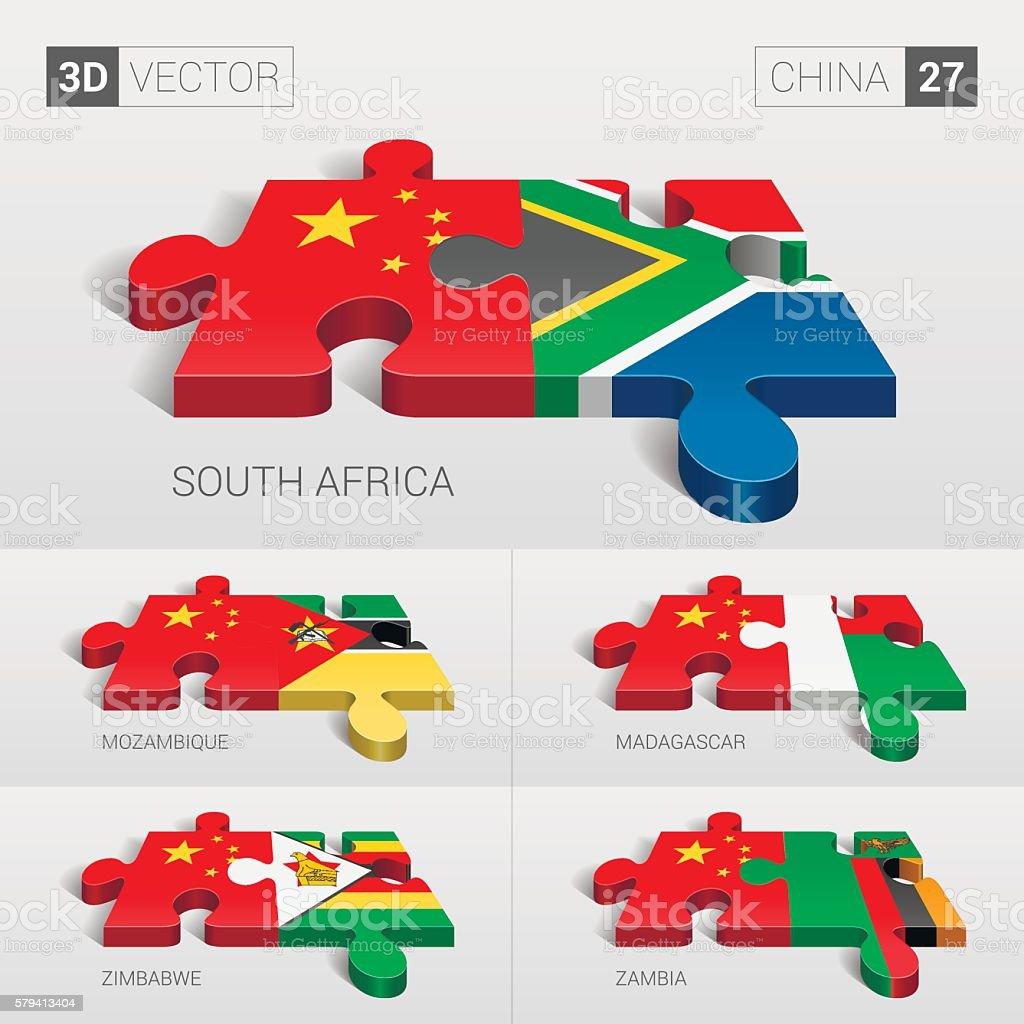 China Flag. 3d vector puzzle. Set 27. vector art illustration