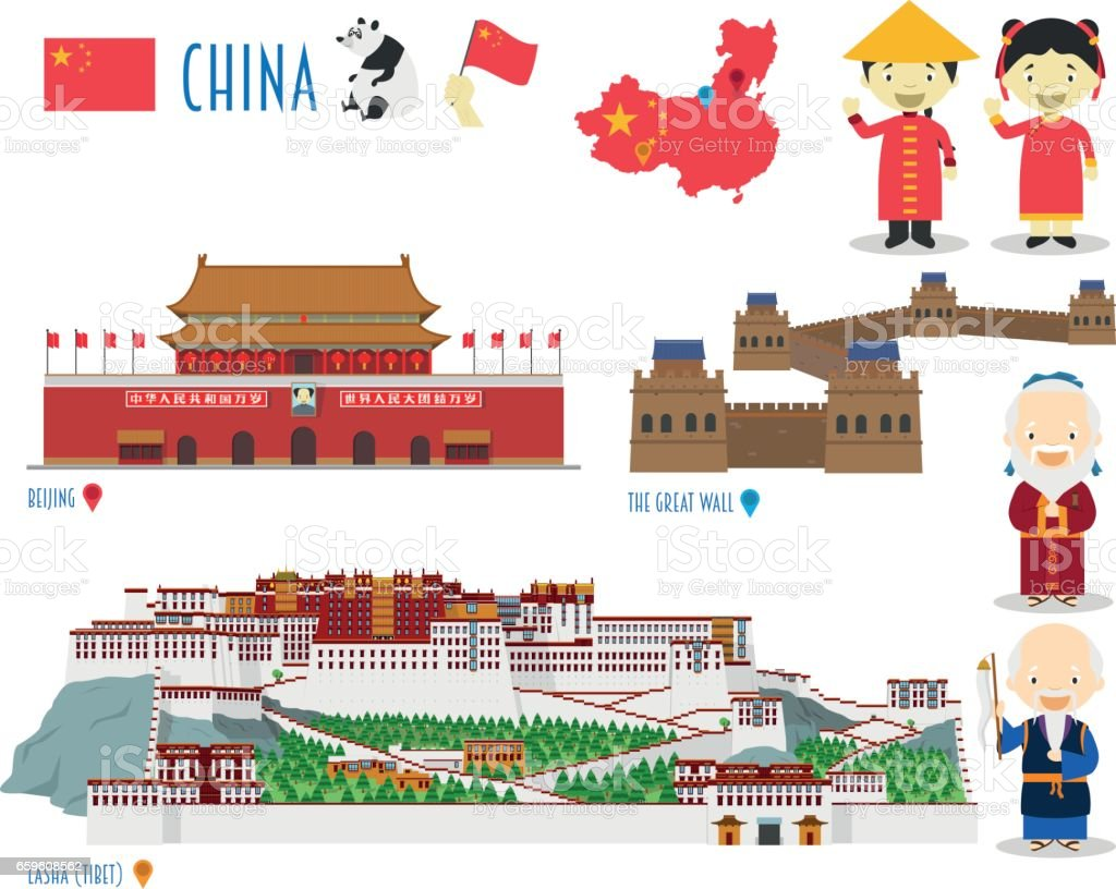 China Flat Icon Set Travel and tourism concept. Vector illustration vector art illustration
