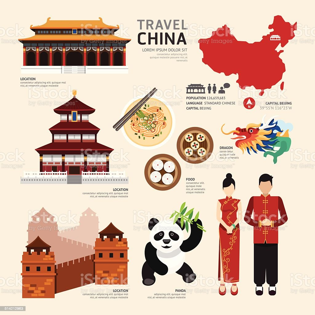 China Flat Icons Design Travel Concept.Vector vector art illustration