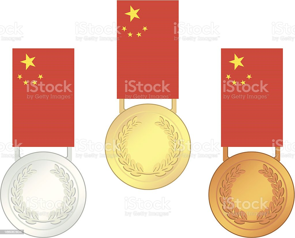 China Olympic Games Finalists' Medals royalty-free stock vector art